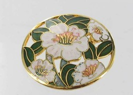 VINTAGE GUILLOCHE ENAMEL GREEN WHITE HIBISCUS FLOWERS & LEAF CUT OUT PIN... - $53.99
