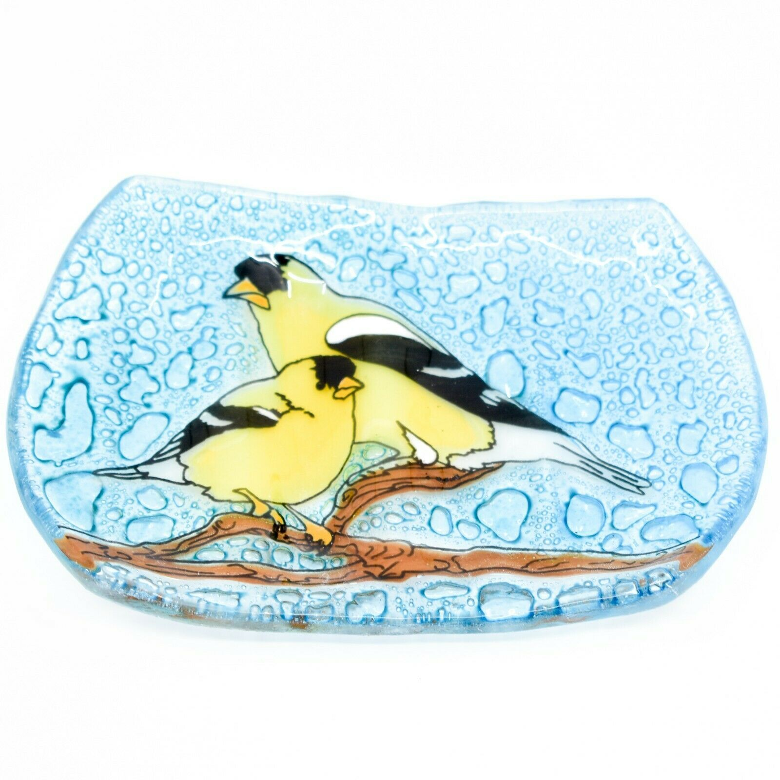 Fused Art Glass Goldfinch Yellow Finch Bird Design Soap Dish Handmade Ecuador