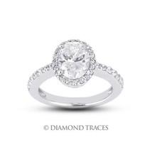 3.01ctw H-VS1 VG-Cut Oval AGI Genuine Diamonds 950 Plat. Halo Accents Ri... - $18,501.86