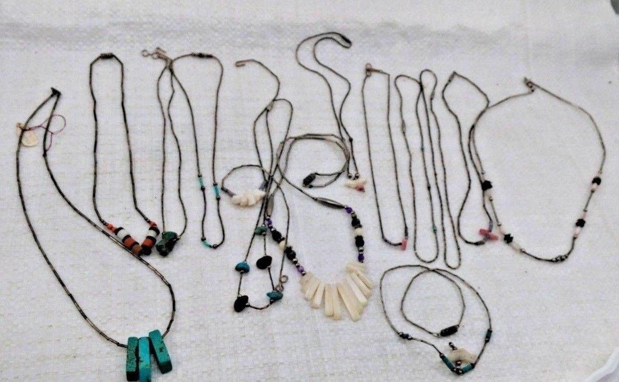 Lot of 14 Vintage Southwest Liquid Silver Multi Stone Necklaces
