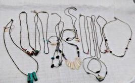 Lot of 14 Vintage Southwest Liquid Silver Multi Stone Necklaces - $64.99