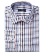 NEW CLUB ROOM RUST BLUE CHECK WRINKLE RESIST ESTATE DRESS SHIRT (17 34/35) - $11.87