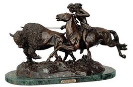 Buffalo Hunt 032L Statue Handmade 100% Bronze Sculpture By Frederic Remington La - $1,279.87