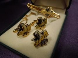 Mando Machinery Corp WINIA Employee 24K Gold Filled Tie Tac Bar & Cuff L... - $22.28