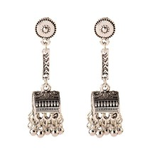 Ethnic Women Silver Dangle Earrings Jhumka Indian Earrings Vintage Geome... - $8.16