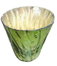 """4"""" H Votive In Green Antique Mercury In Swirl Line Design - $26.17"""