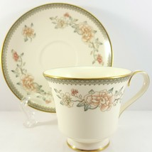 Minton Jasmine Footed Cup and Saucer 6 oz Ivory Bone China Pink Floral - $25.01