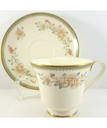 Minton Jasmine Footed Cup and Saucer 6 oz Ivory Bone China Pink Floral - $27.72