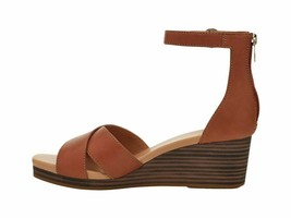 UGG Eugenia Tan Women's Leather Ankle Strap Wedge Sandals 1117348 - $96.00
