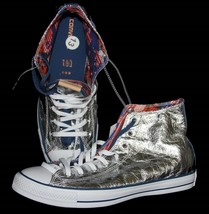 Converse Crumpled Aluminum Foil Hightop Shoes NYC Lining Unisex M-11.5 / W-13.5 - $74.99
