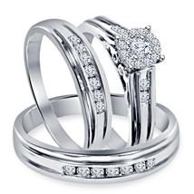 Round Cut Sim Diamond Gents Ladies Trio Ring Set 14k White Gold Over 925 Silver - $152.99