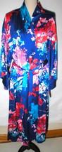 NWT New Designer Natori Wrap Robe Womens XL Silky Satin Flowers Blue Red... - $90.00