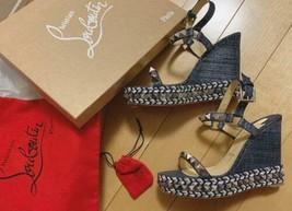 Christian Louboutin Compensé Semelle Jeans Sandales Chaussures à Talon Cataclou - $1,283.20