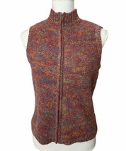Talbots Wool Blend Sweater Vest Multicolor Full Zip Front Mock Neck Vtg ... - $23.75