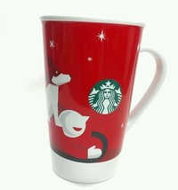 STARBUCKS Dog Sled Coffee Mug Guy Man Boy Sledding Red winter stars 2011 reuse - $14.80