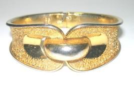 TEXTURED GOLD TONE CROWN TRIFARI VINTAGE BELT BUCKLE CLAMPER HINGED BRAC... - $40.00