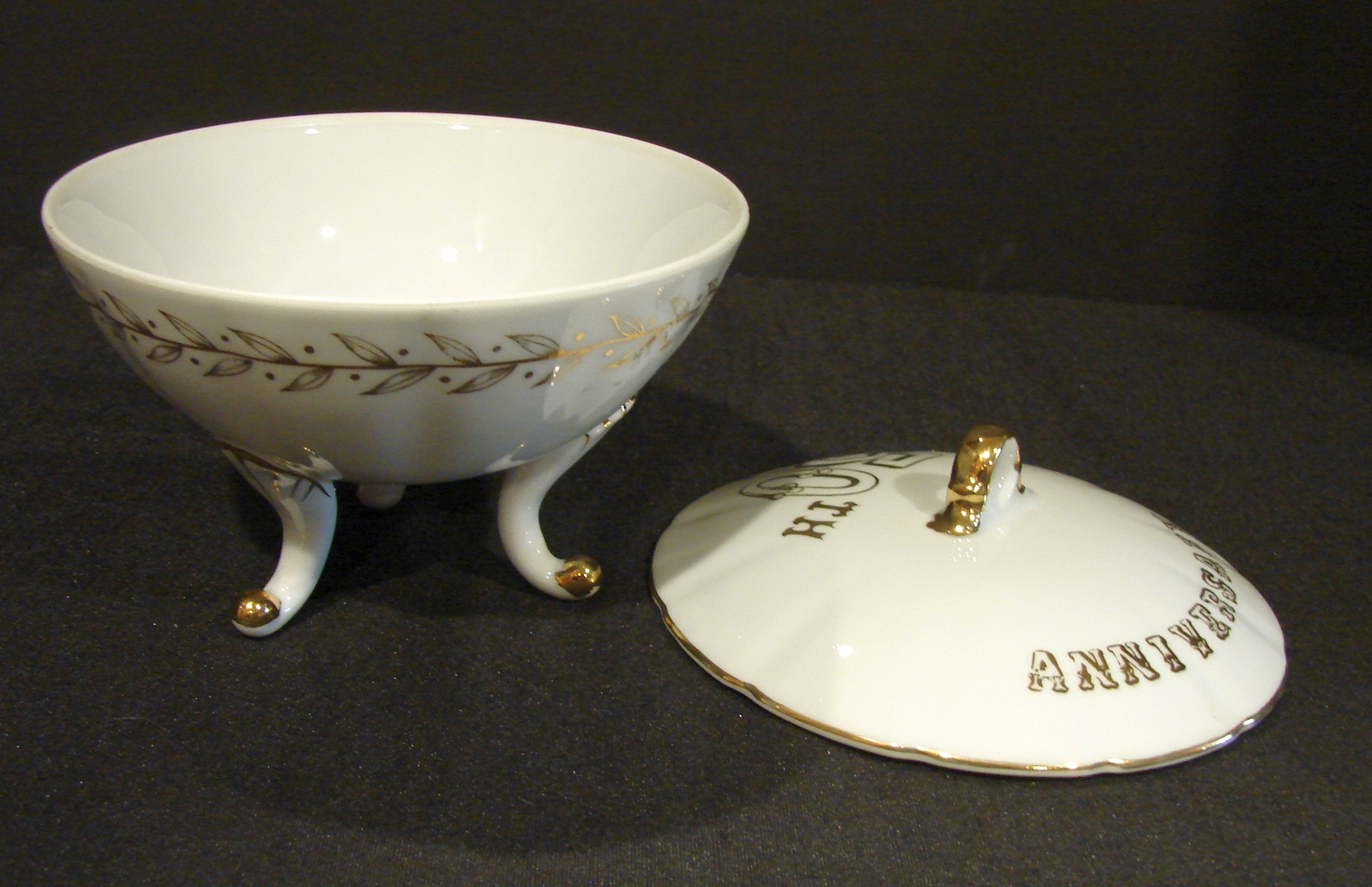 Lefton China 50th Anniversary White-Gold Footed Candy Bowl