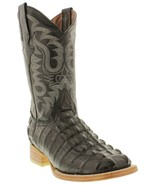 Mens Black Crocodile Tail Pattern Leather Western Wear Cowboy Boots Squa... - €88,15 EUR