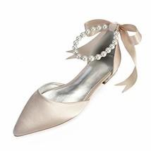 LLBubble Women Comfort Flat Satin Pearls Wedding Bridal Shoe Pointed Toe... - $64.24