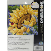 "Dimensions Mini Needlepoint Kit 5""X5""-Sunflower & Ladybug Stitched In Th... - $24.00"
