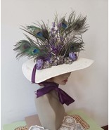 Women's Victorian style hat straw peacock feathers purple ties costume fashion - $45.00