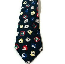 Adolfo Mens Geometric Print Squares Blue Red Yellow Gray Red Green Tie - $16.79