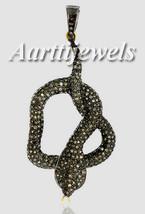 Victorian 4.03ct Rose Cut Diamond Superb Snake Pretty Wedding Pendant - $801.48
