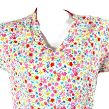 Dickies Flowers Pink Red Blue White Small Scrub Top - $14.84