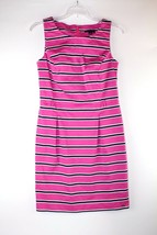 Tommy Hilfiger Womens Dress Pink White Navy Striped Sheath Size 6 - $19.77