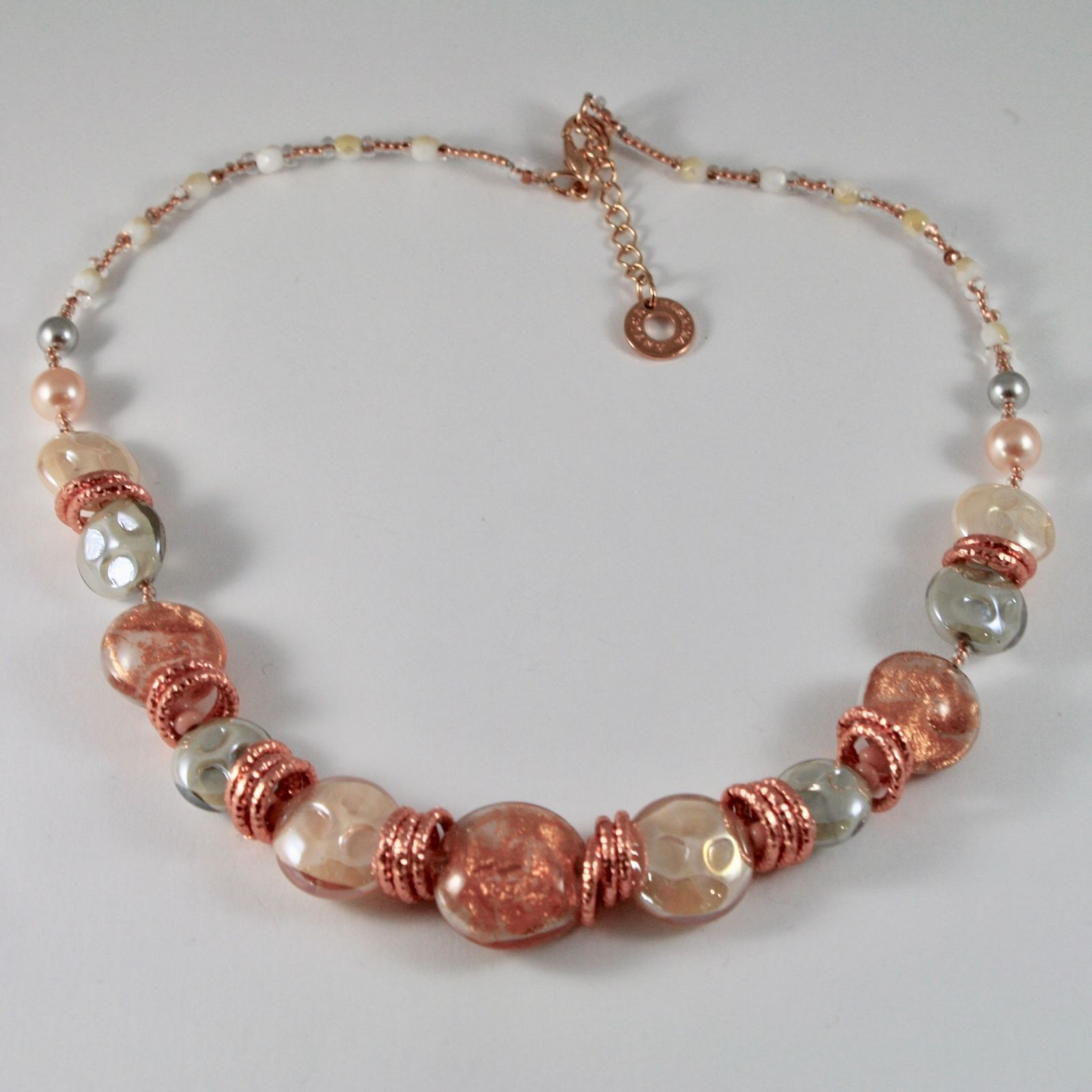 ANTICA MURRINA VENEZIA DAMASCO NECKLACE WITH MURANO GLASS DISCS 18 INCHES LONG