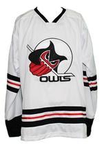 Any Name Number Columbus Owls Retro Hockey Jersey New Sewn White Any Size image 1