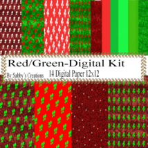 Red/Green Kit-Digtial Paper-Art Clip-Gift Tag-Jewelry-T shirt-Notebook-S... - $5.00
