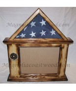 Pine Flag Document Display Case for 3x5 flag - 8 1/2 x 11 document  Burned Pine  - $137.00