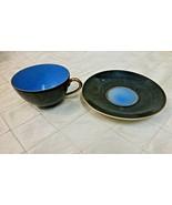 Eggshell TeaCup Saucer Blue Black Gold 1800s China Porcelain Translucent... - $38.69