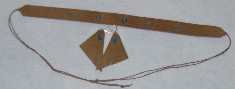Handmade Headband Choker Earring Genuine Cowhide Leather with Turquoise Studs