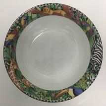 "Sakura Ultra Porcelain Magic Jungle 9"" Vegetable Serving Bowl Sue Zipkin 1995  - $51.93"