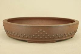 Tokoname ware Bonsai Pot Peach flower mud tack lower body string circle ... - $335.60