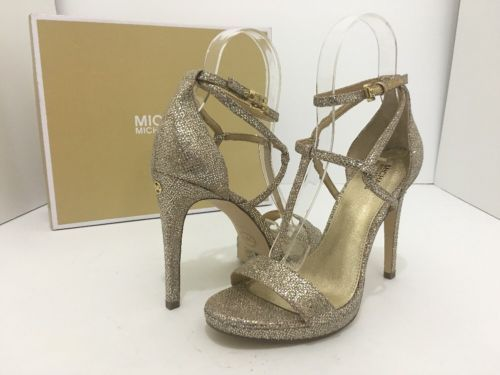 7142199f03e2 ... Michael Kors Simone Sandals Silver Sand Glitter Women s Evening High Heels  7 ...