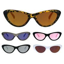Womens Color Mirror Lens Goth Narrow Cat Eye Plastic Sunglasses - $9.95