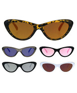 Womens Color Mirror Lens Goth Narrow Cat Eye Plastic Sunglasses - $9.95