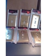 Lot of 6 Brass Finish Light Switch wall plates new Sealed - $26.17