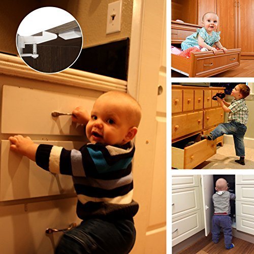 Cabinet Locks Child Safety Latches - VMAISI 12 Pack Baby Proofing Cabinets Drawe