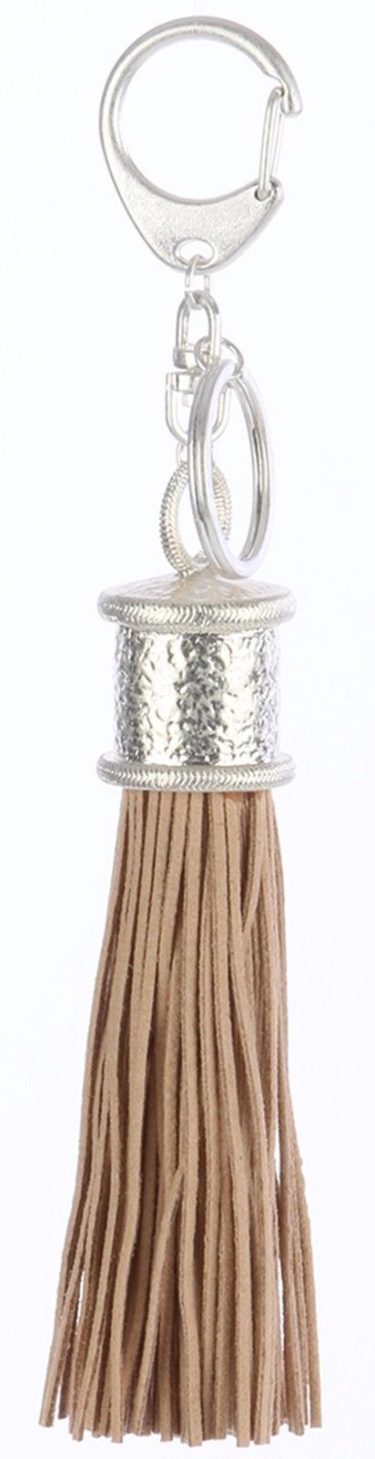 Tassel Key Chain Handbag Charm Accessory Key Fob Claw Hook Silvertone Beige 2
