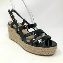 Via Spiga Strappy Black Patent Leather Espadrille Wedge Women Size 6.5 - $46.55
