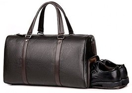 Men Leather Gym Bag Travel Duffels Weekender Brown Overnight Gym Business Tote - $115.62