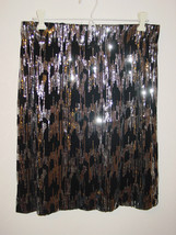 Calvin Klein black silver sequins skirt mesh zig zag design party sissy-M - $39.70