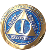 1 Year AA Medallion Elegant Glitter Blue Gold Plated Sobriety Chip Coin One - £14.65 GBP