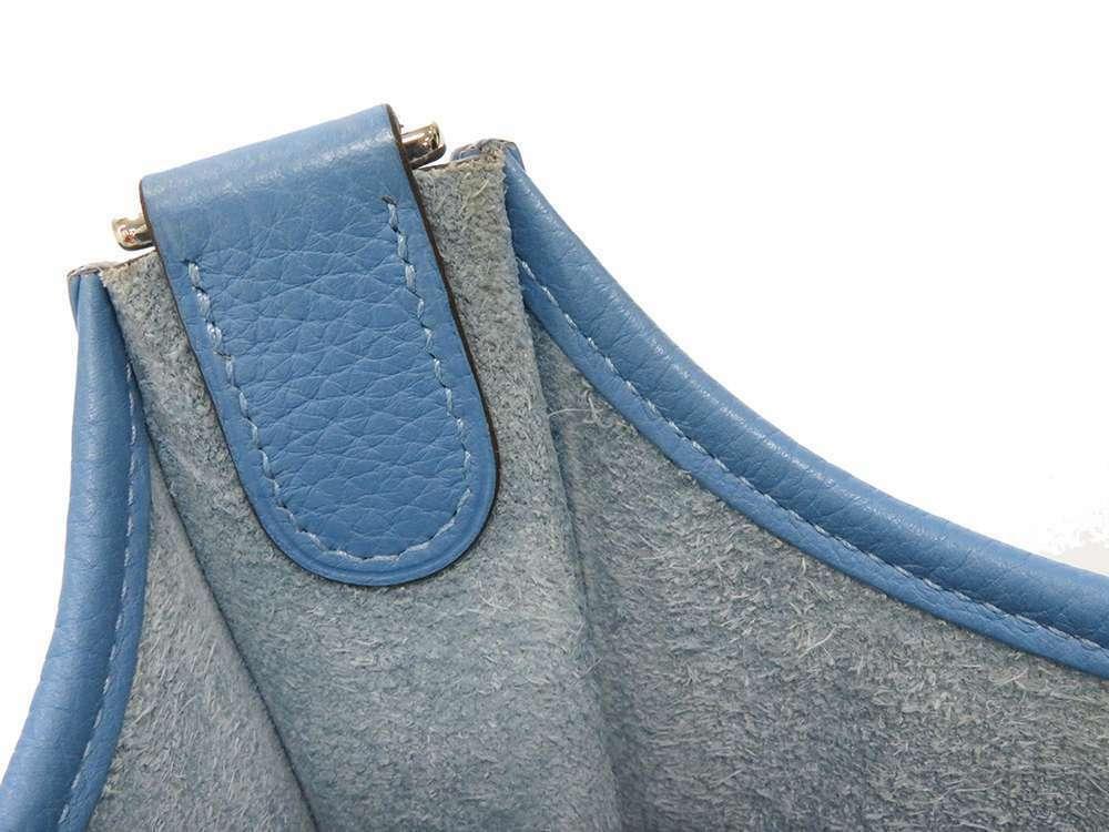 HERMES Evelyne 3 PM Taurillon Clemence Bleu Paradis Shoulder Bag #R Authentic image 10