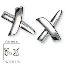 Modern X Cross Earrings Polished Sterling Silver Pierced Designer Fashio... - $13.99
