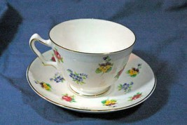 Crown Staffordshire Bone China  Floral Bouquet Footed Cup And Saucer Set - $12.59